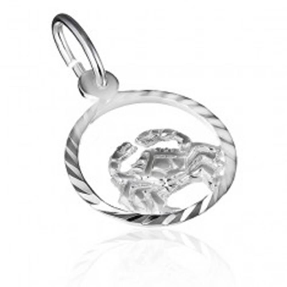 """Šperky eshop Prívesok zo striebra 925 - kruh so znamením """"rak"""""""