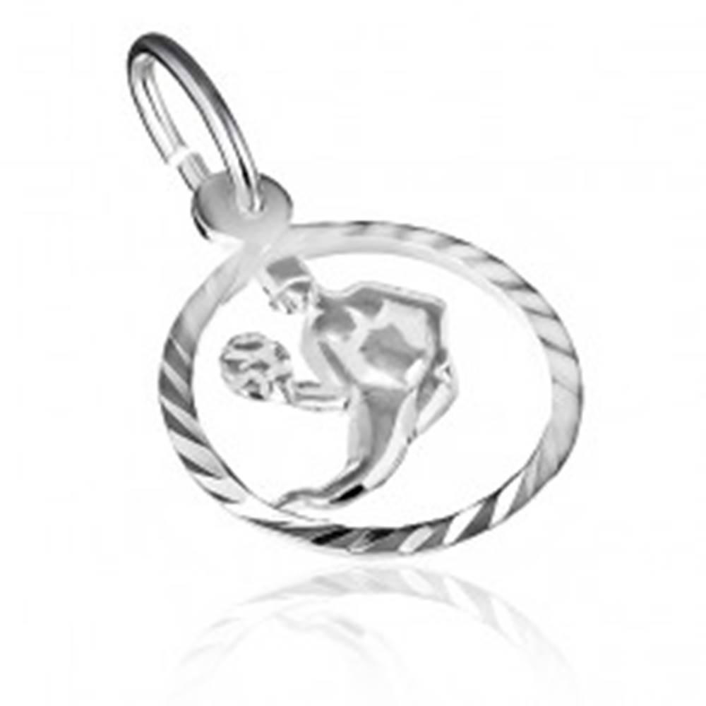 """Šperky eshop Prívesok zo striebra 925 - lesklý kruh a znamenie """"panna"""""""