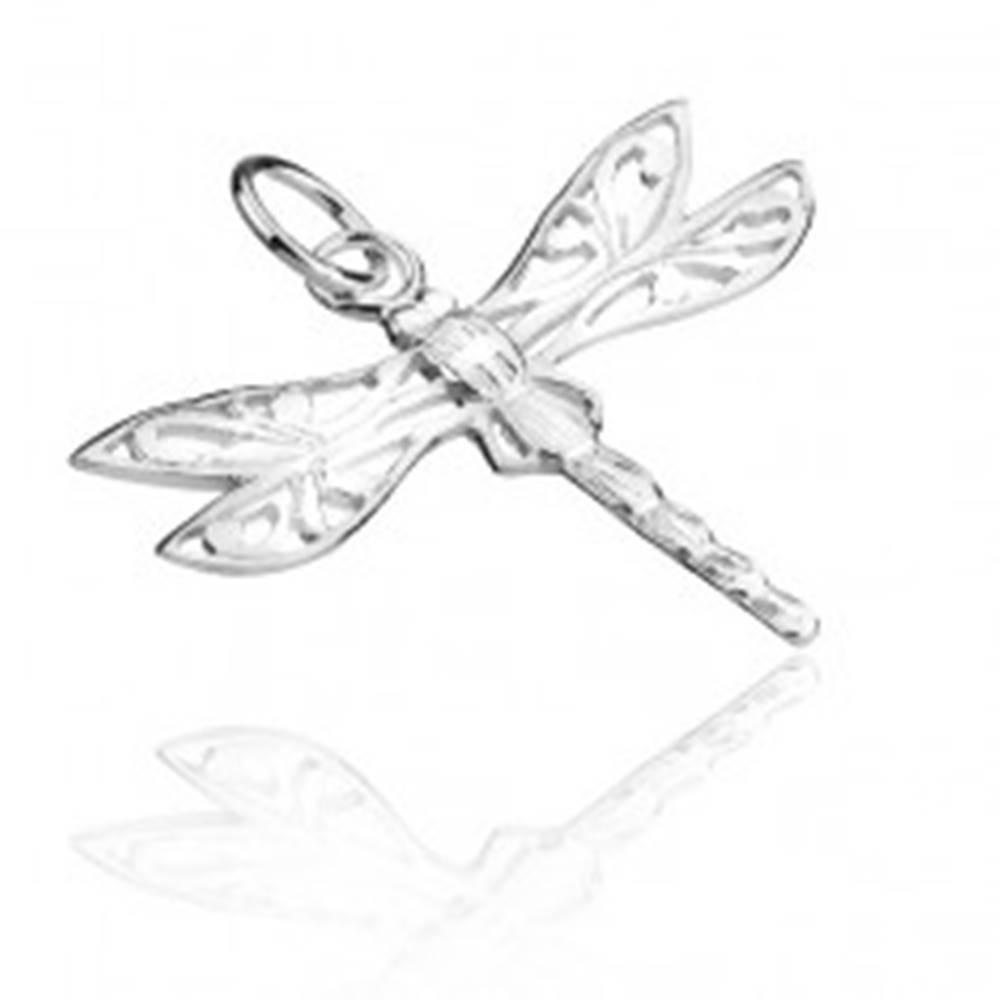 Šperky eshop Prívesok zo striebra 925 - vážka s filigránovými krídlami