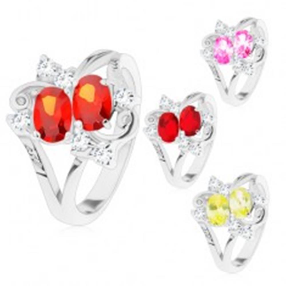 Šperky eshop Prsteň s rozdelenými ramenami, dva farebné ovály, číre zirkóniky - Veľkosť: 49 mm, Farba: Žltá