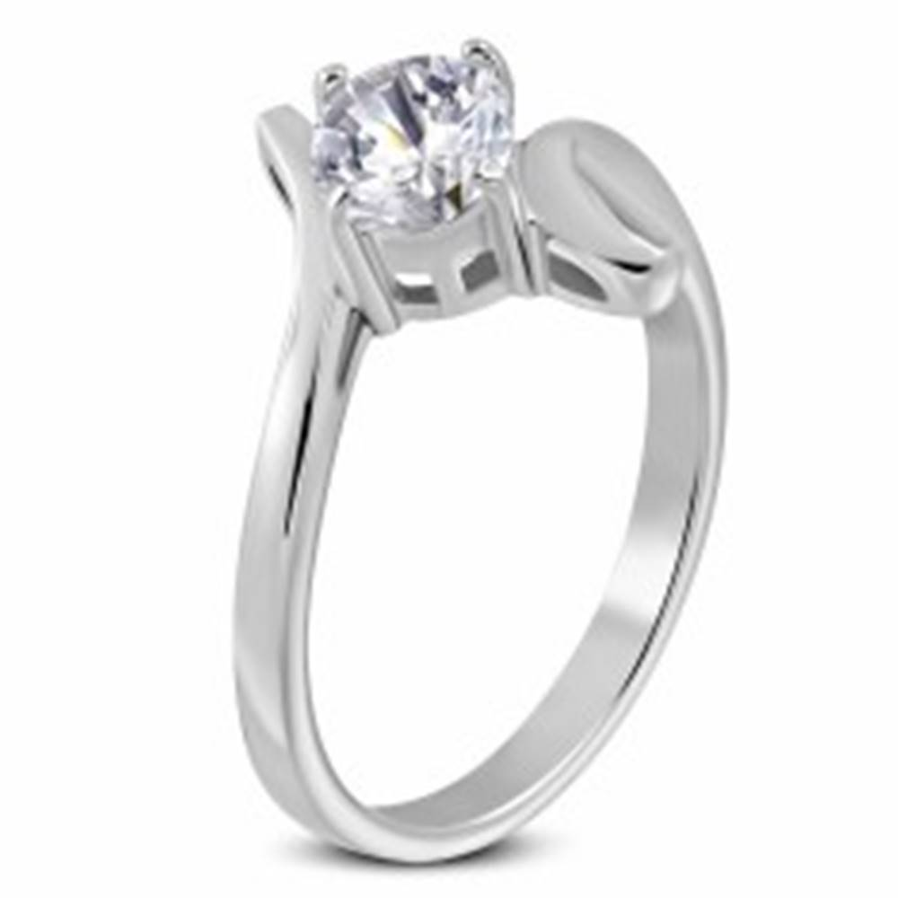 Šperky eshop Prsteň z ocele 316L s veľkým čírym zirkónom a slučkou - Veľkosť: 48 mm