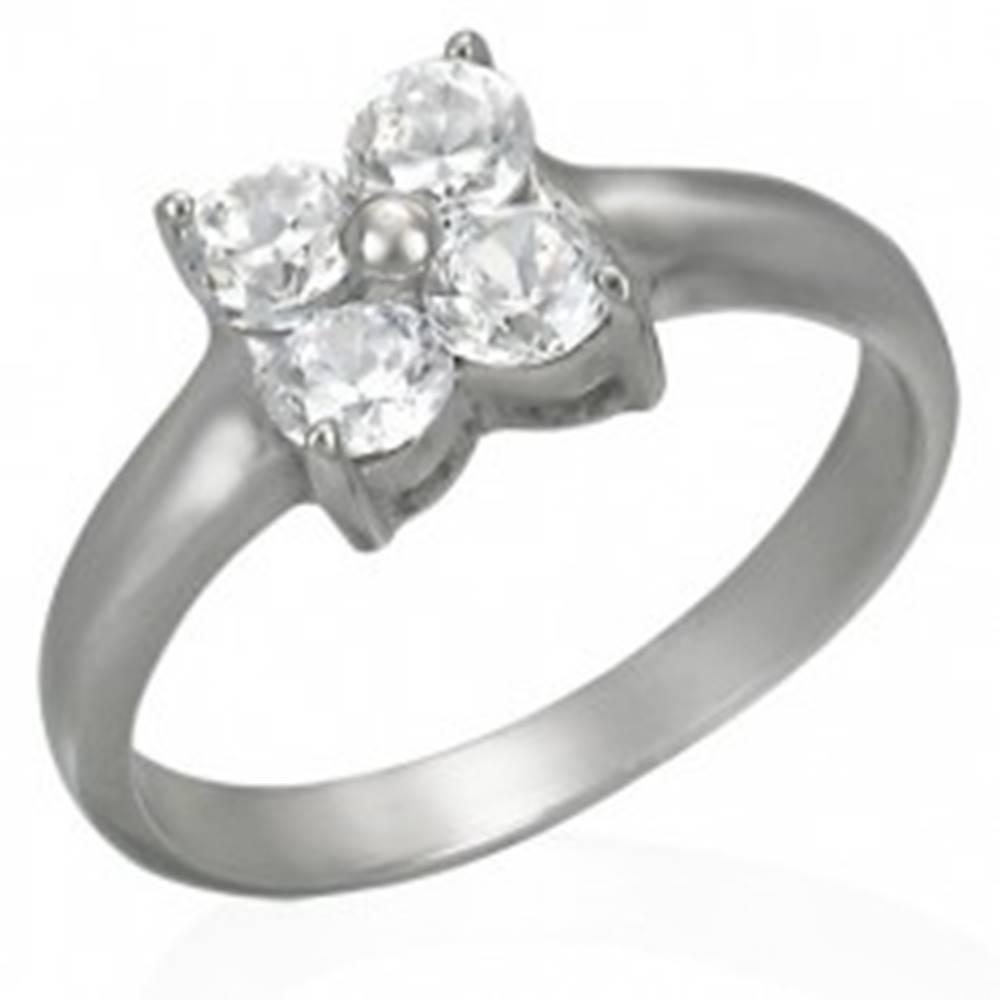Šperky eshop Prsteň z ocele s kvietkom zo zirkónov - Veľkosť: 49 mm