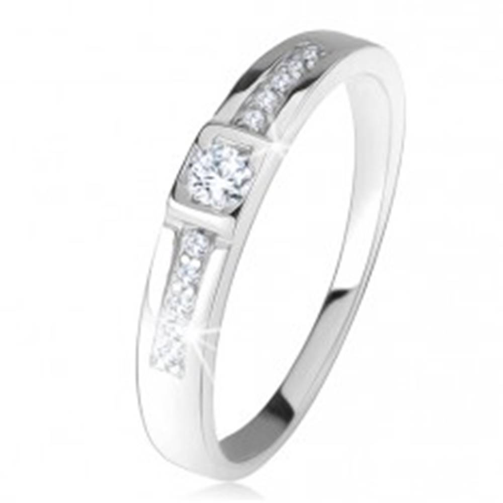 Šperky eshop Prsteň zo striebra 925, číre zirkóny, rovné línie kamienkov - Veľkosť: 47 mm
