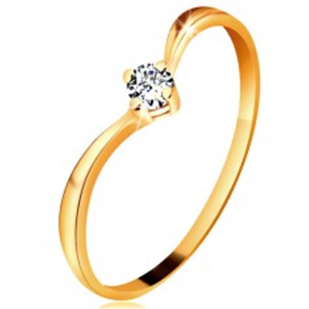 Šperky eshop Prsteň zo žltého zlata 585 - lesklé zahnuté ramená, ligotavý číry diamant - Veľkosť: 49 mm