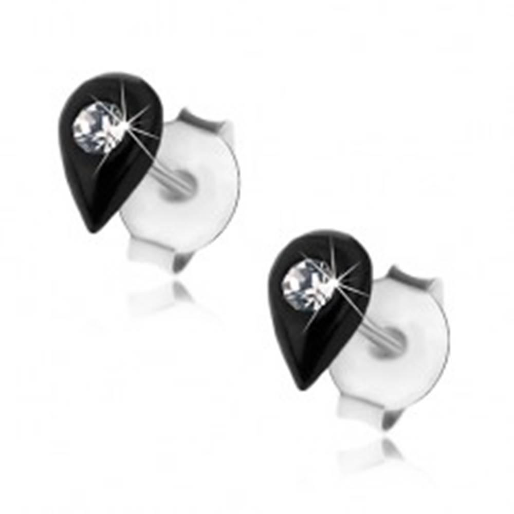 Šperky eshop Puzetové náušnice, striebro 925, čierna glazúrovaná kvapka, krištálik Swarovski