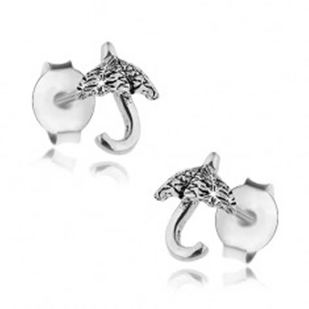 Šperky eshop Puzetové náušnice, striebro 925, malý lesklý dáždnik, čierna patina