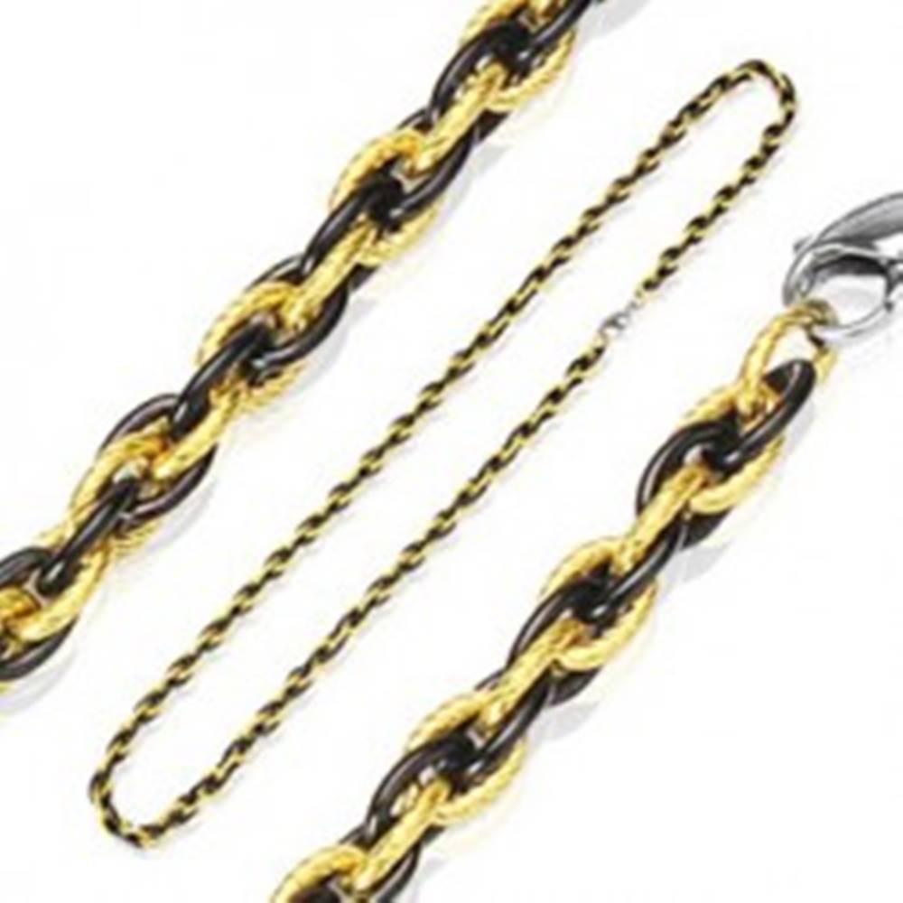 Šperky eshop Retiazka z chirurgickej ocele prepletaný vzor - dvojfarebná