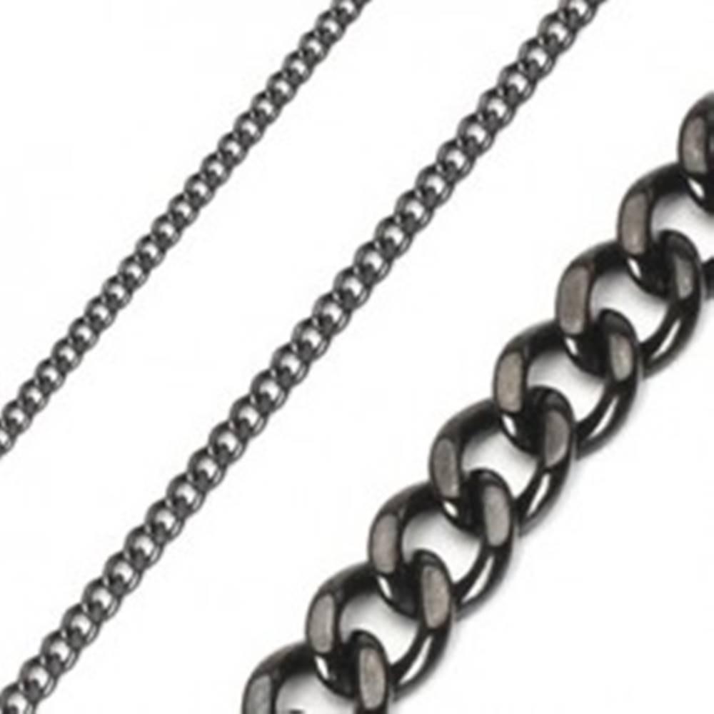 Šperky eshop Retiazka z chirurgickej ocele reťaz brúsená lesklá v čiernej farbe - Hrúbka: 10 mm, Dĺžka: 600 mm