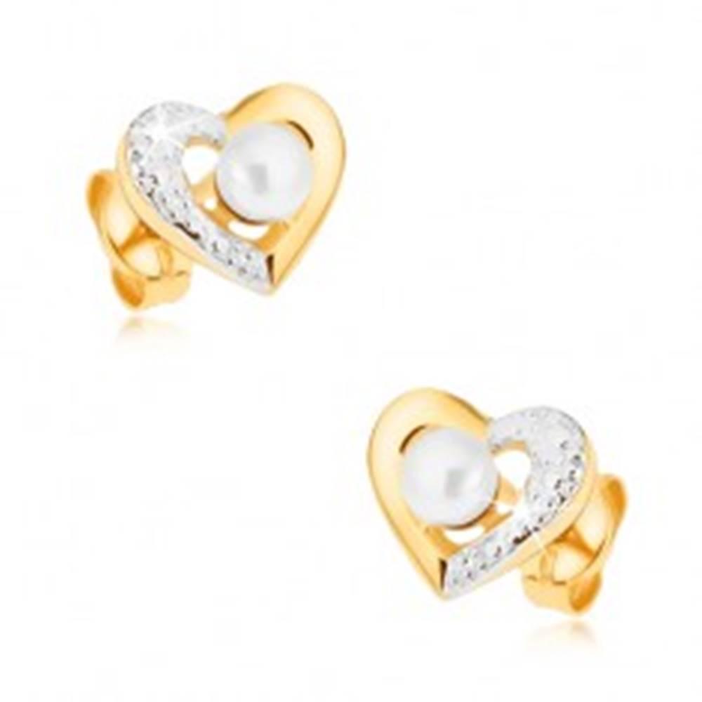 Šperky eshop Ródiované náušnice z 9K zlata - dvojfarebná kontúra srdca, biela perla