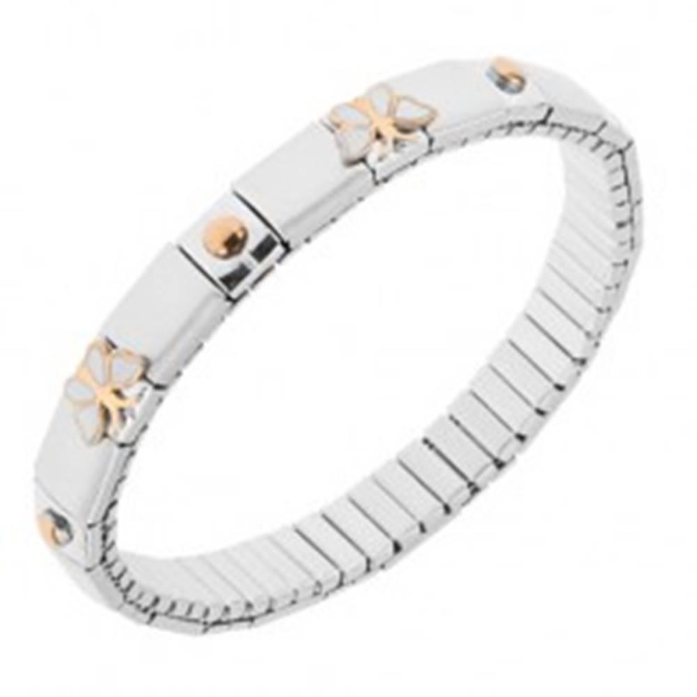 Šperky eshop Strečový oceľový náramok striebornej farby, lesklé a matné články, motýle, guličky
