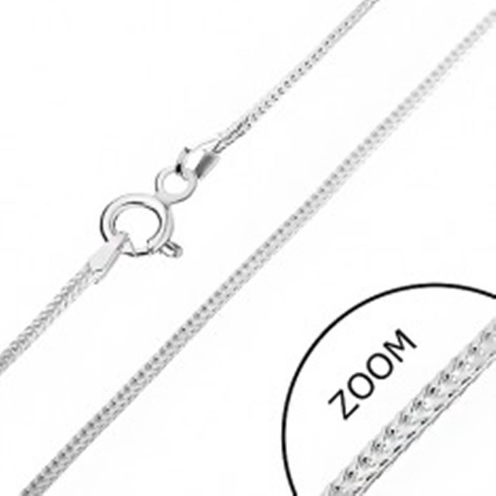 Šperky eshop Strieborná retiazka 925 - hranatá línia očiek, 1 mm