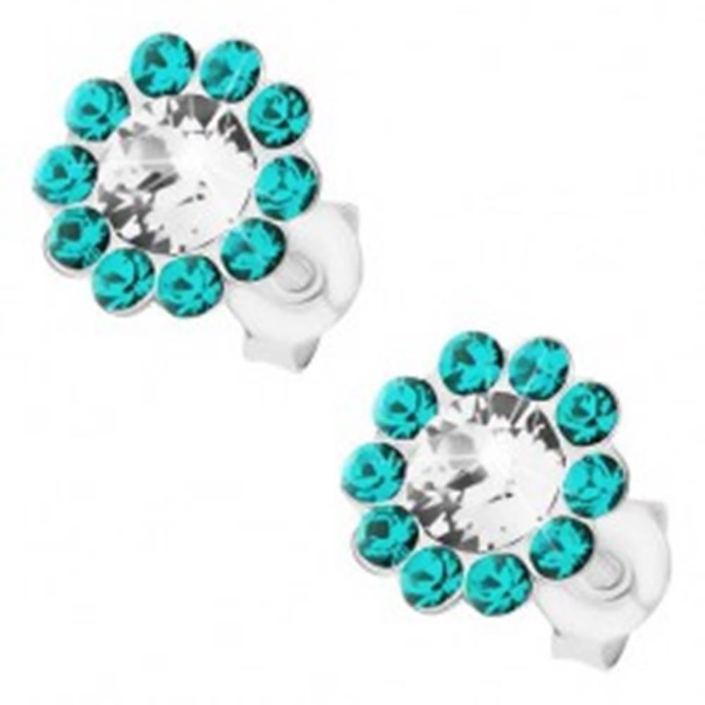 Šperky eshop Strieborné 925 náušnice, kvietok z čírych a tyrkysových krištáľov Preciosa