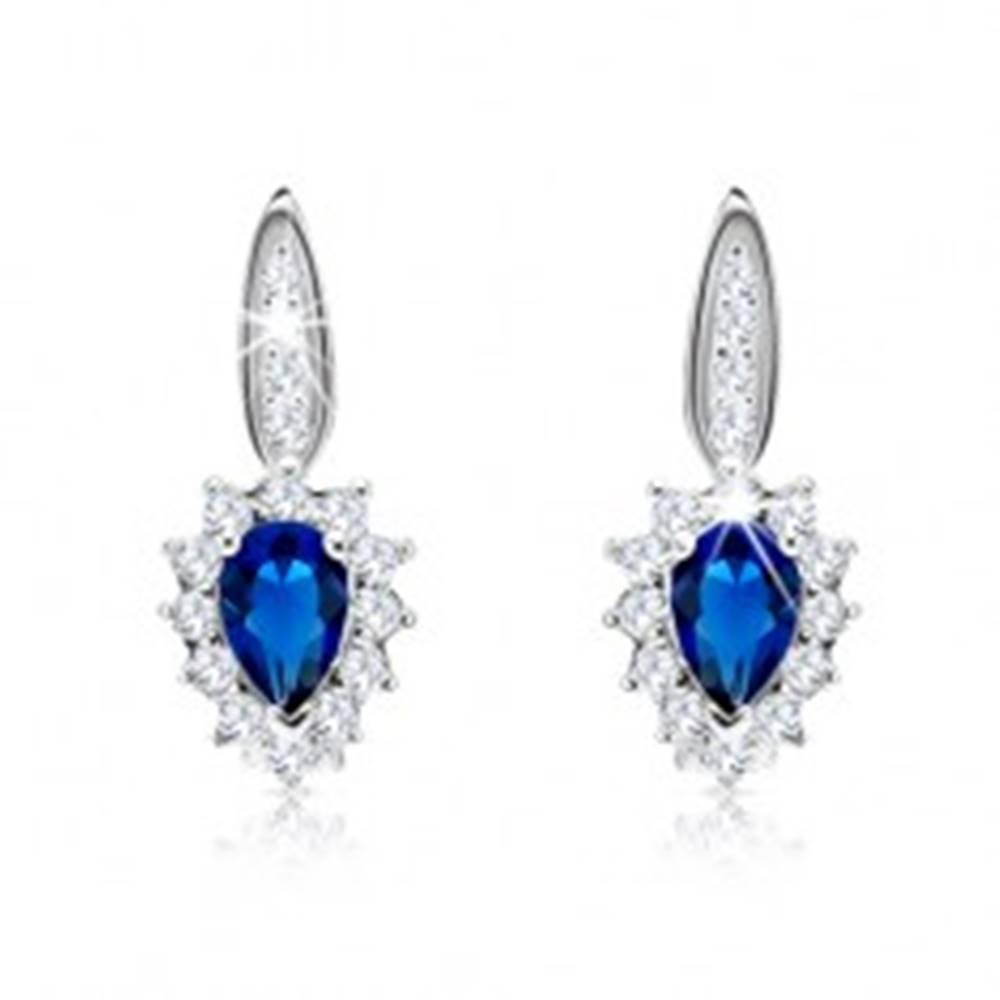 Šperky eshop Strieborné 925 náušnice - modrý zirkón, číry lem, úzky pásik s čírymi zirkónikmi