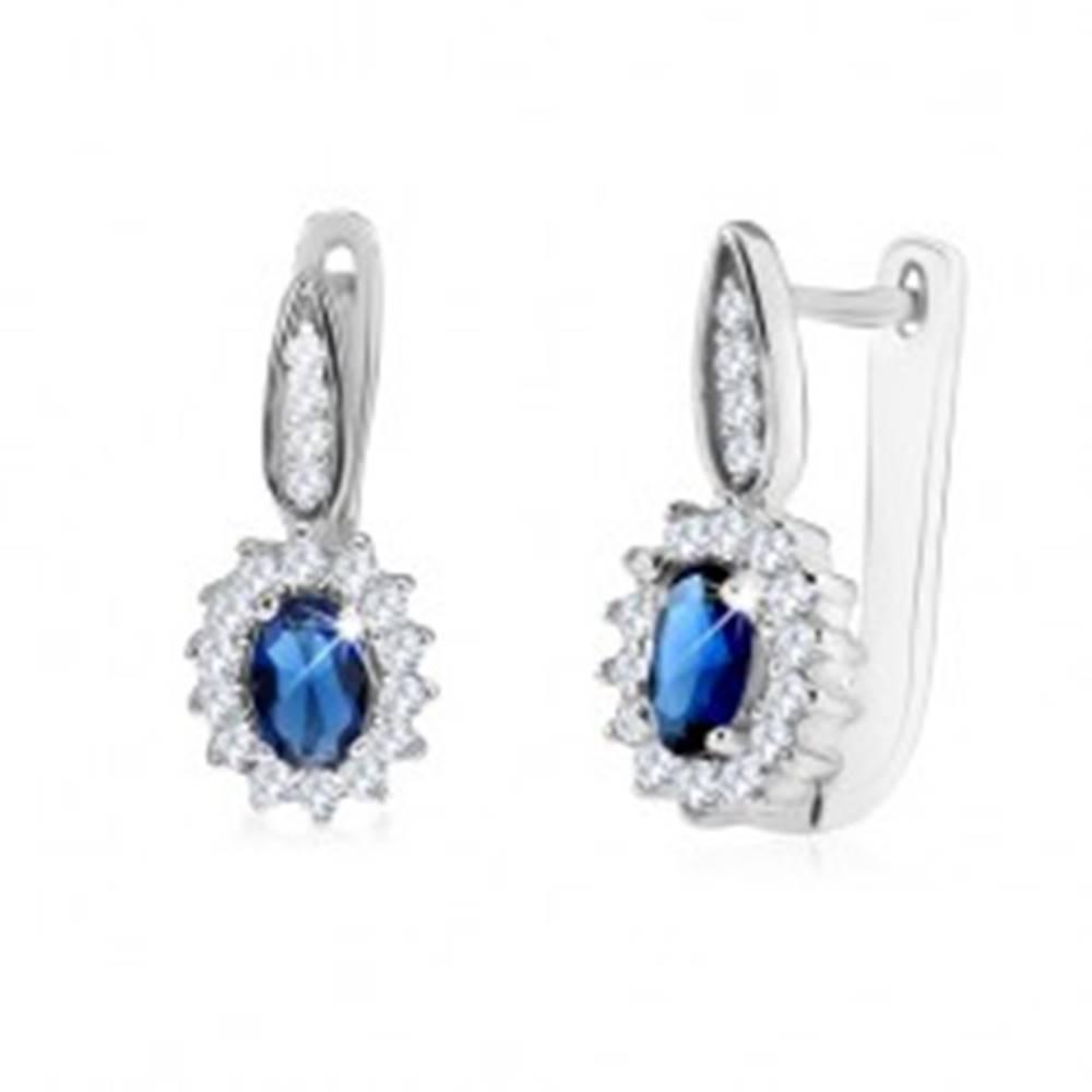 Šperky eshop Strieborné 925 náušnice, oválny tmavomodrý zirkón s čírym lemom