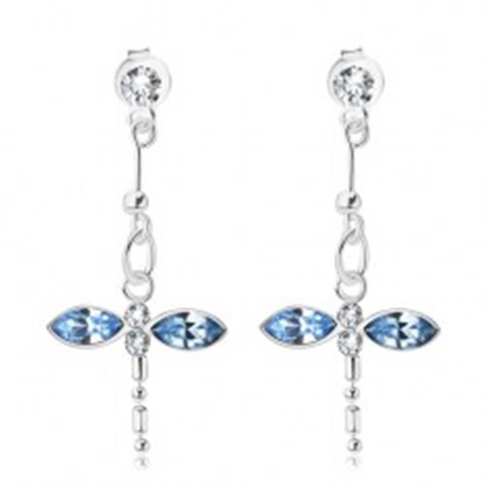 Šperky eshop Strieborné 925 náušnice, visiaca vážka, modré a číre krištále Swarovski