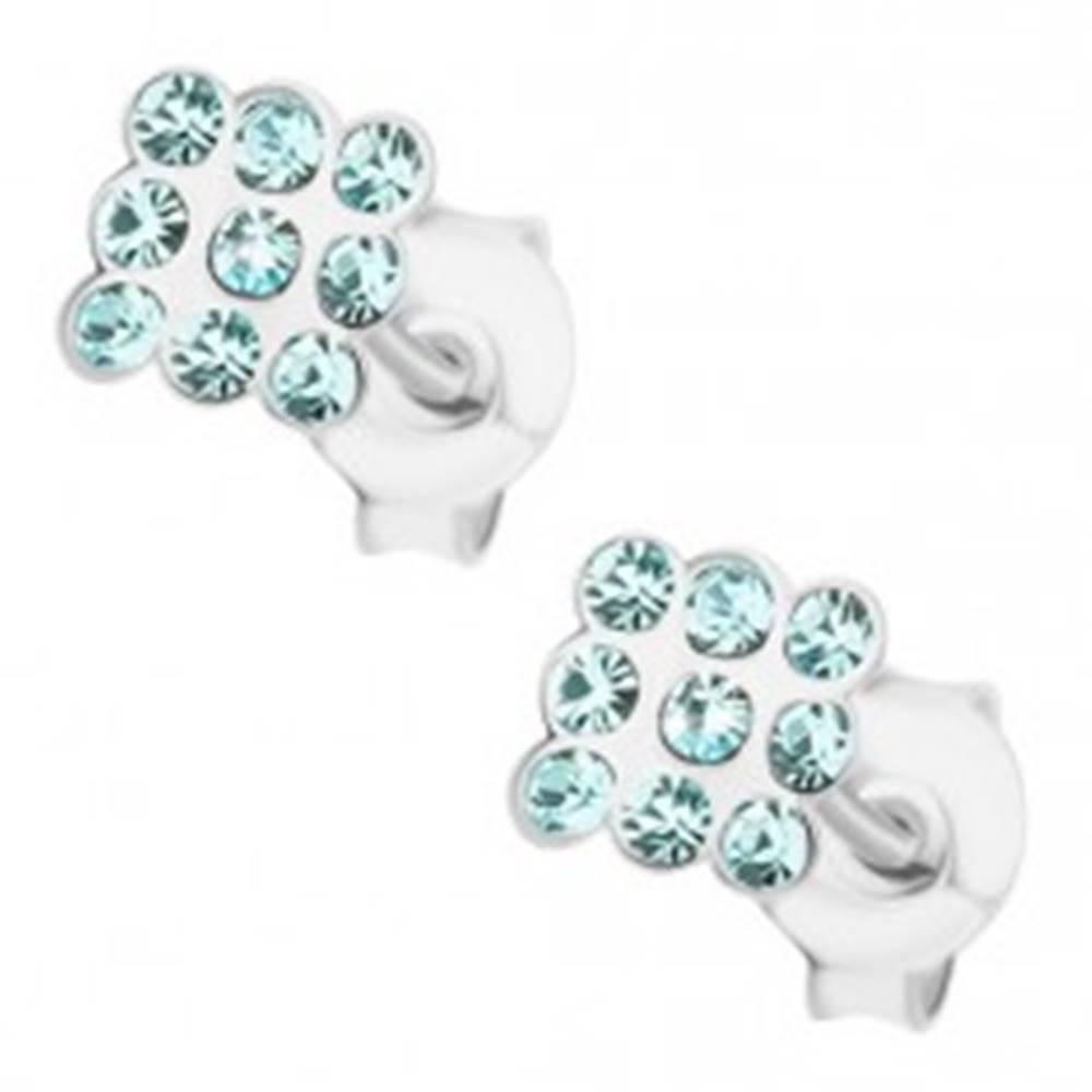 Šperky eshop Strieborné náušnice 925, krištáliky akvamarínovej farby, štvorček
