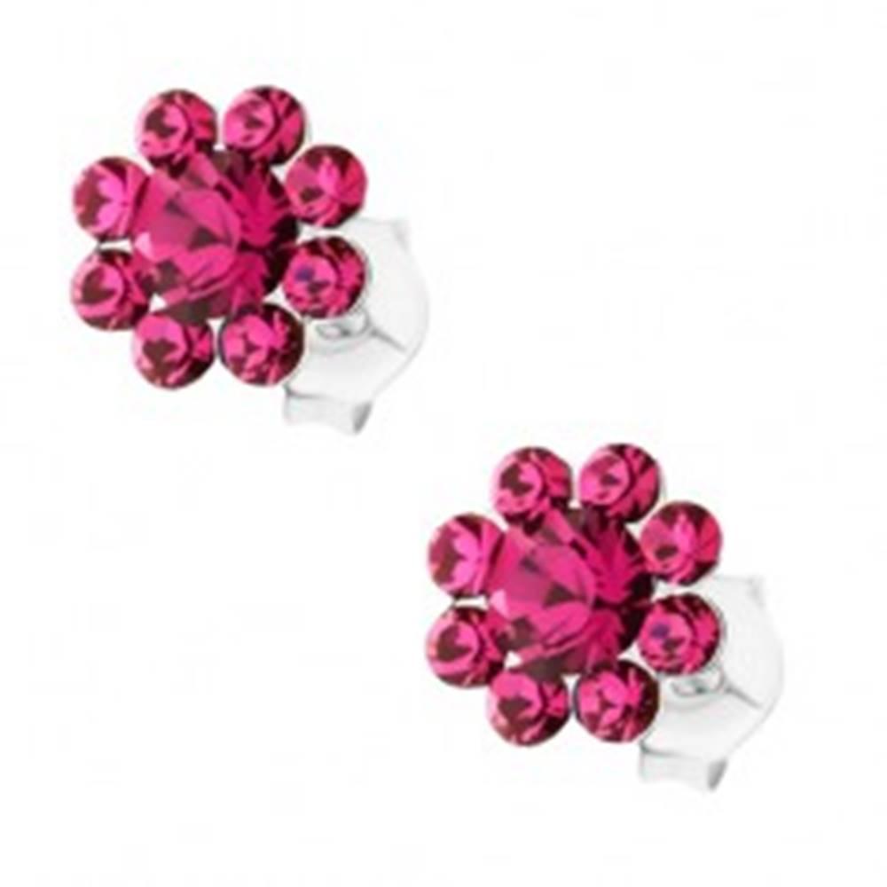 Šperky eshop Strieborné náušnice 925, ligotavý kvet z ružových krištáľov Preciosa, puzetky