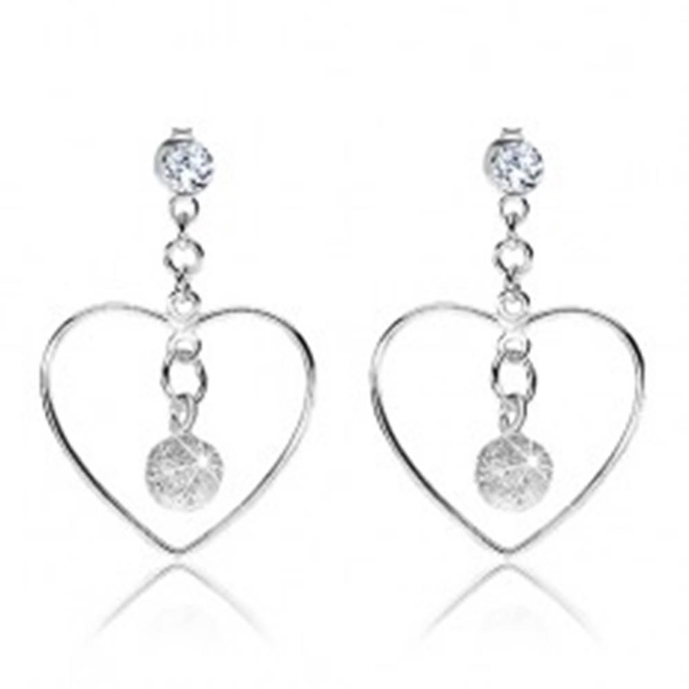 Šperky eshop Strieborné náušnice 925, obrys srdca, číry Swarovského krištálik, ligotavá gulička