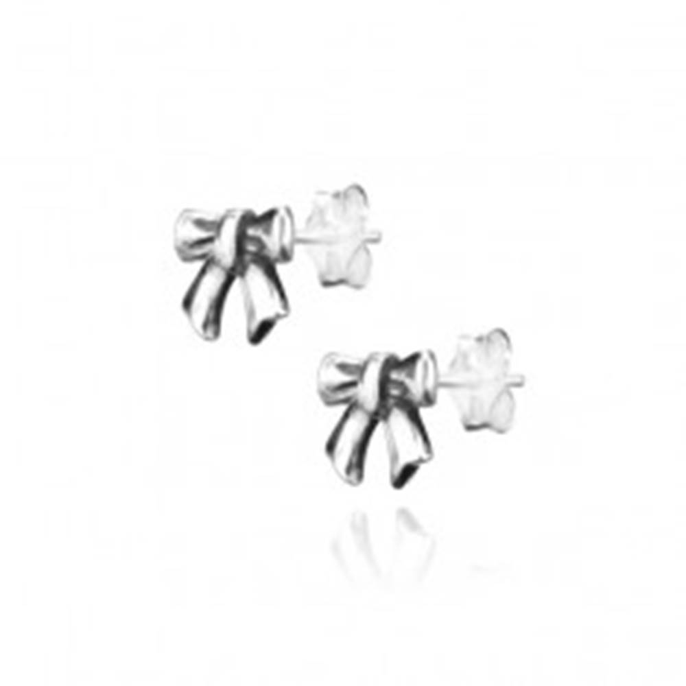 Šperky eshop Strieborné náušnice 925 - puzetky s patinovanou mašličkou