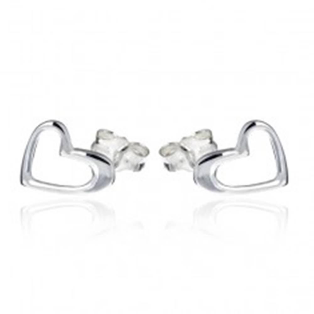 Šperky eshop Strieborné puzetové náušnice 925 - obrys nepravidelného srdca
