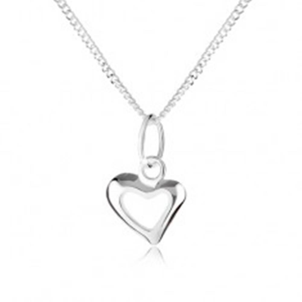 Šperky eshop Strieborný 925 náhrdelník s obrysom asymetrického srdca, špirálovitá retiazka