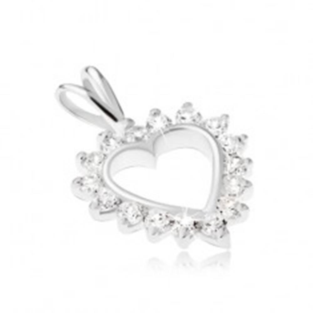 Šperky eshop Strieborný 925 prívesok - kontúra srdca s čírym zirkónovým lemom