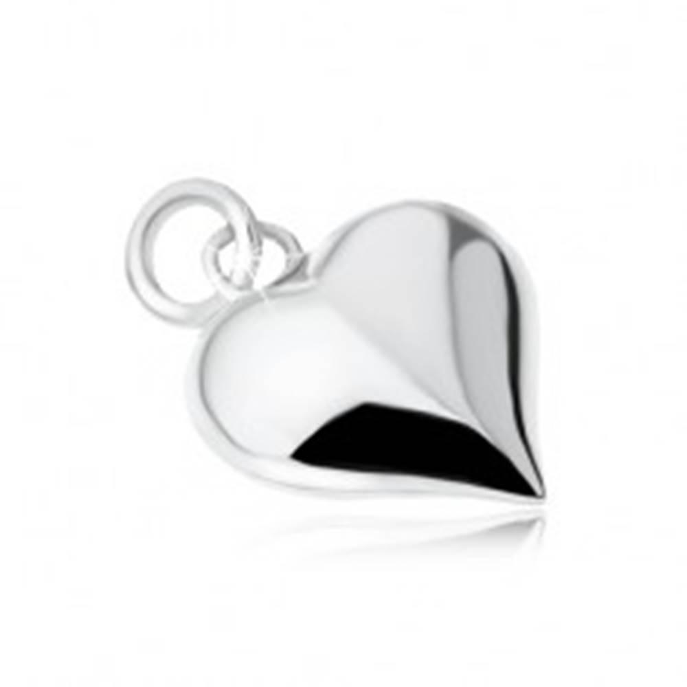 Šperky eshop Strieborný 925 prívesok súmerného srdca, lesklý, vypuklý, hladký