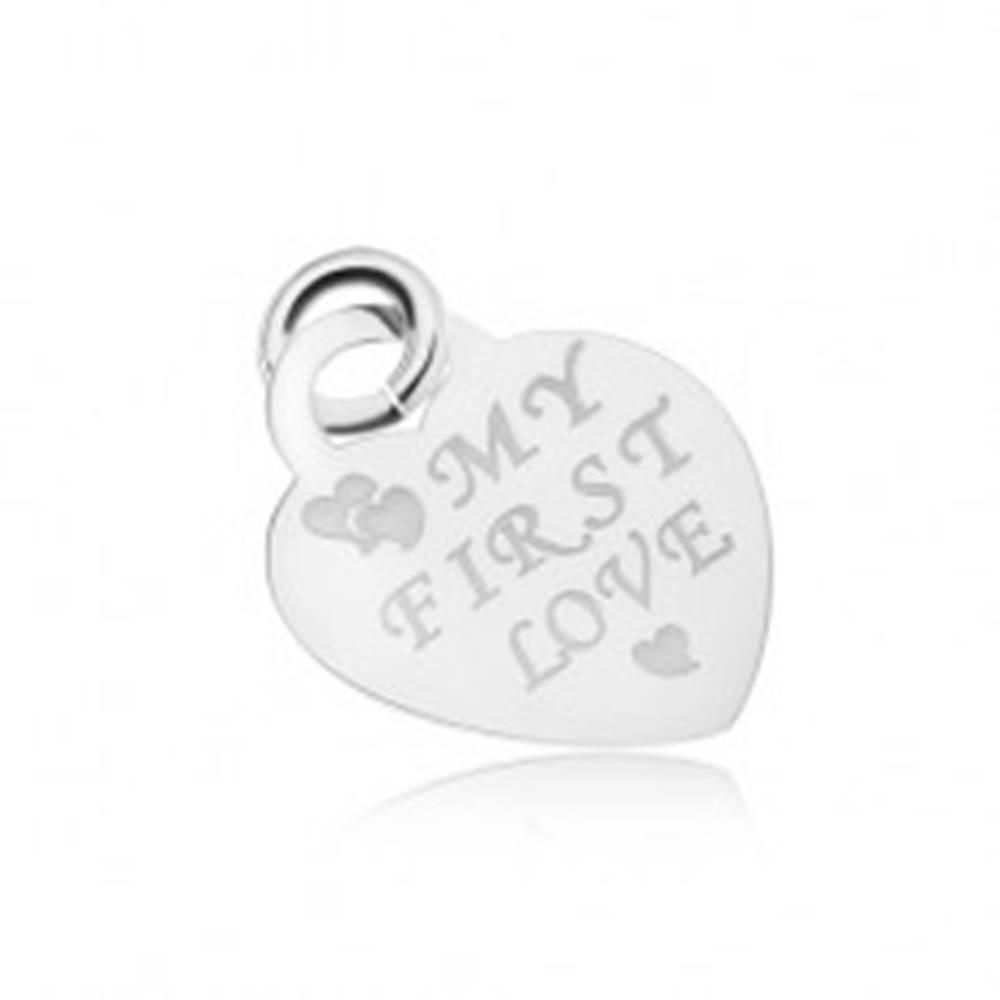 Šperky eshop Strieborný 925 prívesok súmerného srdiečka, lesklý a plochý, MY FIRST LOVE