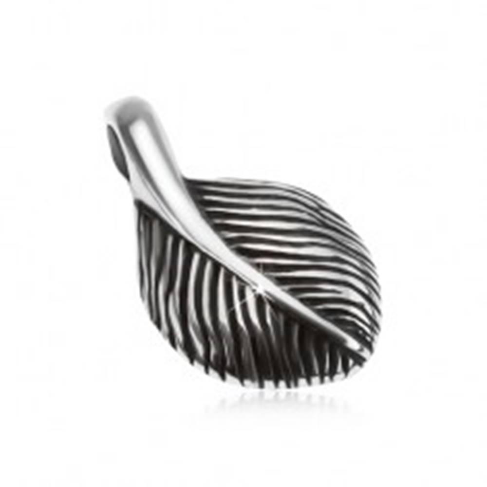 Šperky eshop Strieborný prívesok 925, malé patinované pierko, lesklý povrch