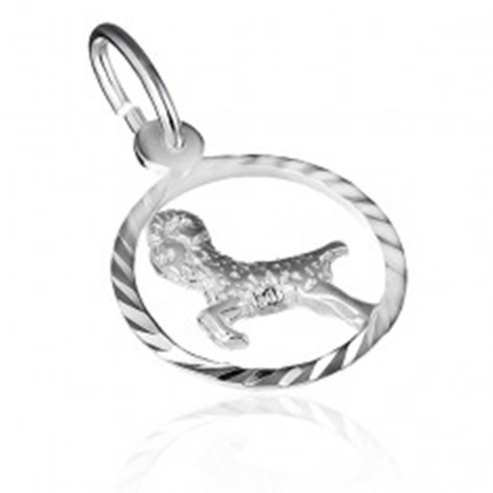 Šperky eshop Strieborný prívesok 925 - znamenie barana v lesklom kruhu