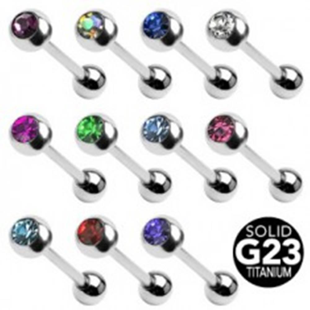 Šperky eshop Titánový piercing do jazyka s farebným zirkónom - Farba zirkónu: Aqua modrá - Q