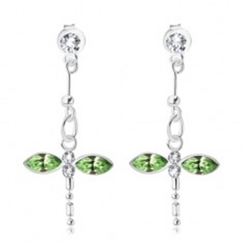 Šperky eshop Visiace náušnice, striebro 925, vážka so zelenými a čírymi krištáľmi Swarovski
