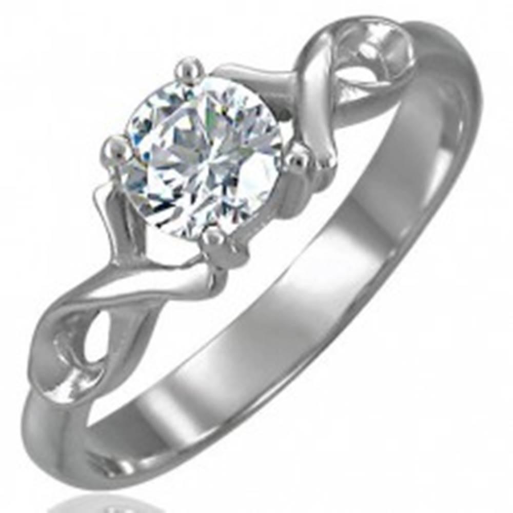 Šperky eshop Zásnubný prsteň so zirkónom s dvojitou oceľovou stužkou - Veľkosť: 49 mm