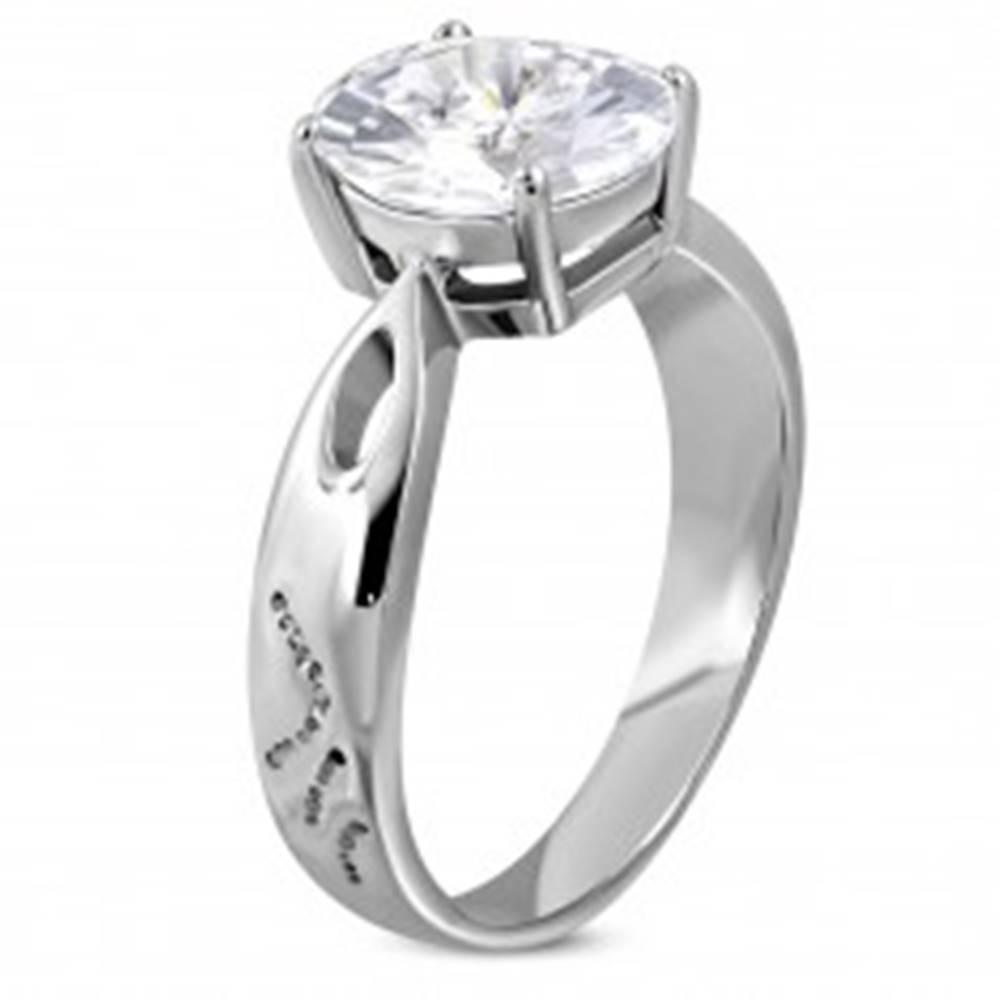 Šperky eshop Zásnubný prsteň z ocele 316L s veľkým zirkónom a ozdobnými ryhami - Veľkosť: 49 mm