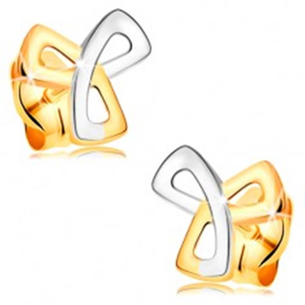 Šperky eshop Zlaté 14K náušnice - trojcípy keltský uzol v dvojfarebnom prevedení, puzetky