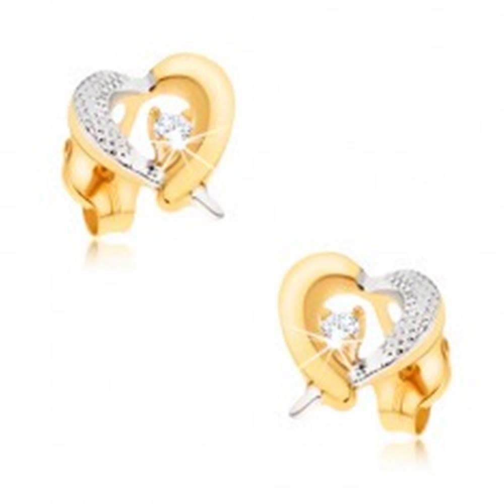 Šperky eshop Zlaté náušnice 375 - žlto-biely obrys srdca, gravírovanie, zirkón