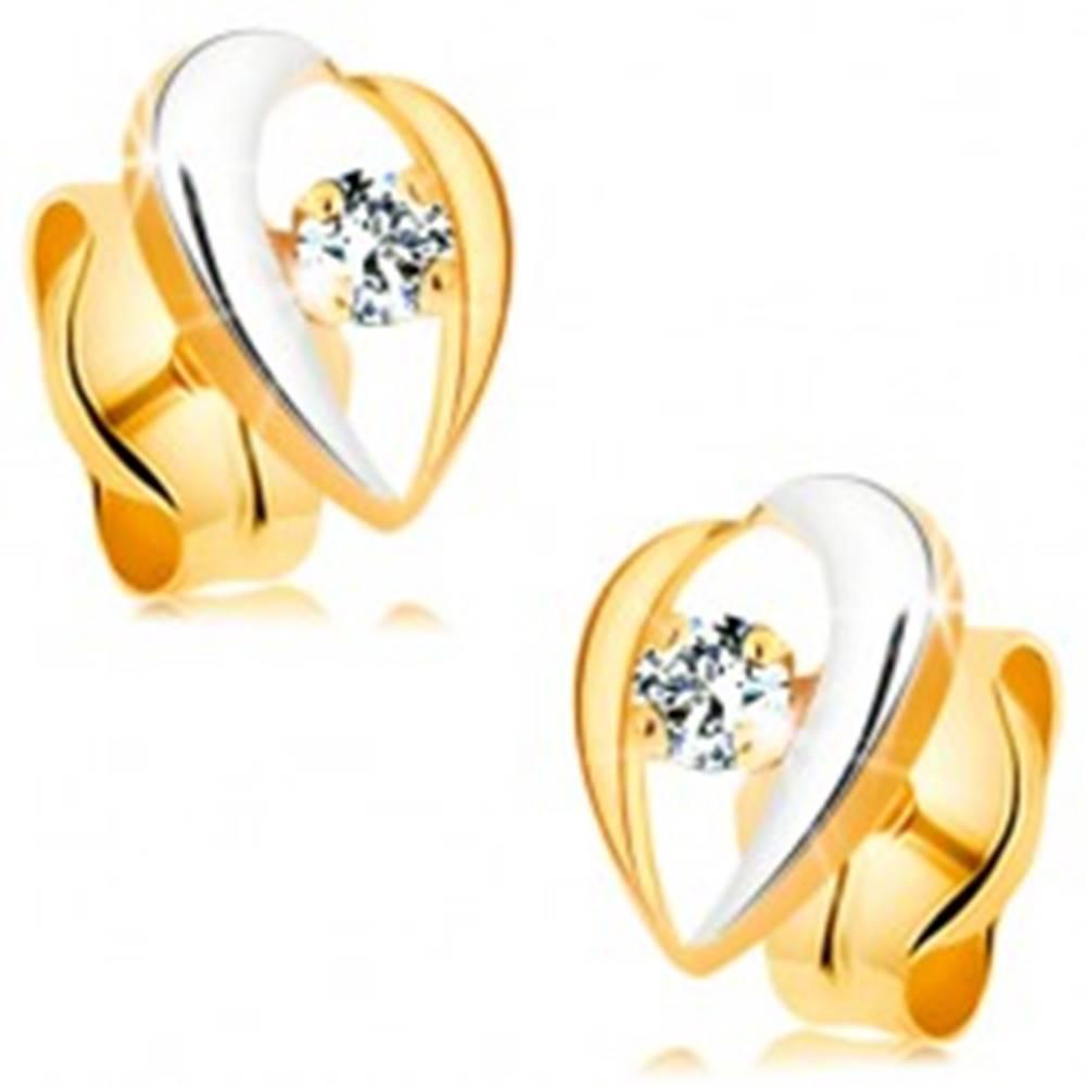 Šperky eshop Zlaté náušnice 585 - dvojfarebné zahnuté línie lemujúce číry zirkón