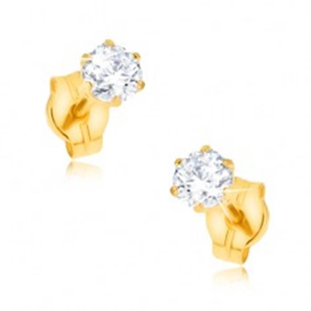 Šperky eshop Zlaté puzetové náušnice 375 - trblietavý zirkón uchytený paličkami