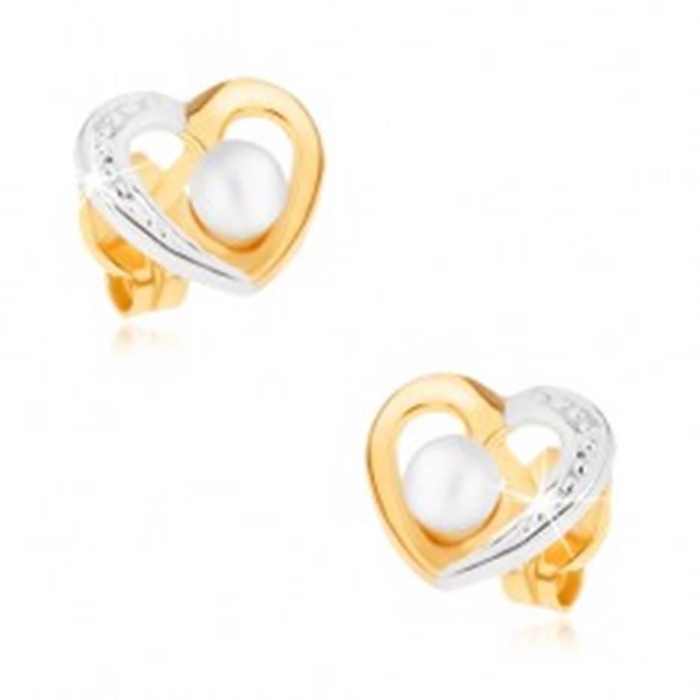 Šperky eshop Zlaté ródiované náušnice 375 - dvojfarebný obrys srdca, biela perlička