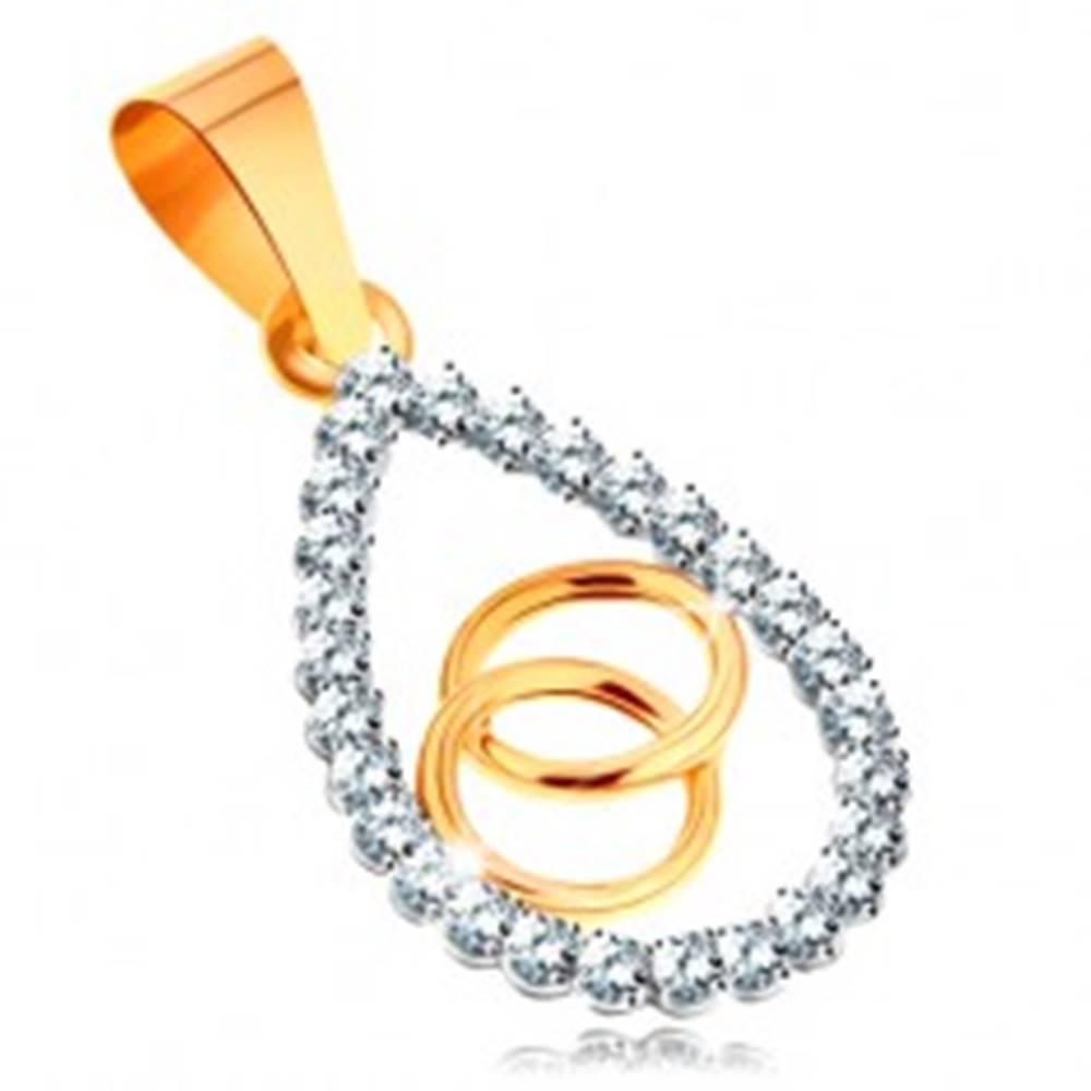 Šperky eshop Zlatý prívesok 585 - číry zirkónový obrys veľkej kvapky, prepojené obruče