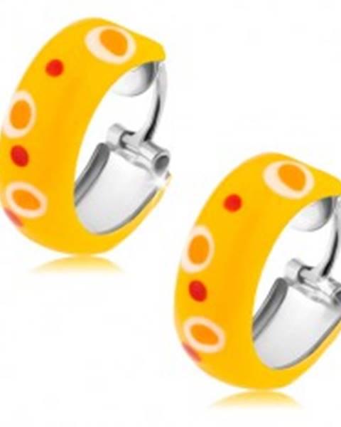 Šperky eshop Strieborné náušnice 925, kruhy, žltá glazúra, červené a oranžové bodky