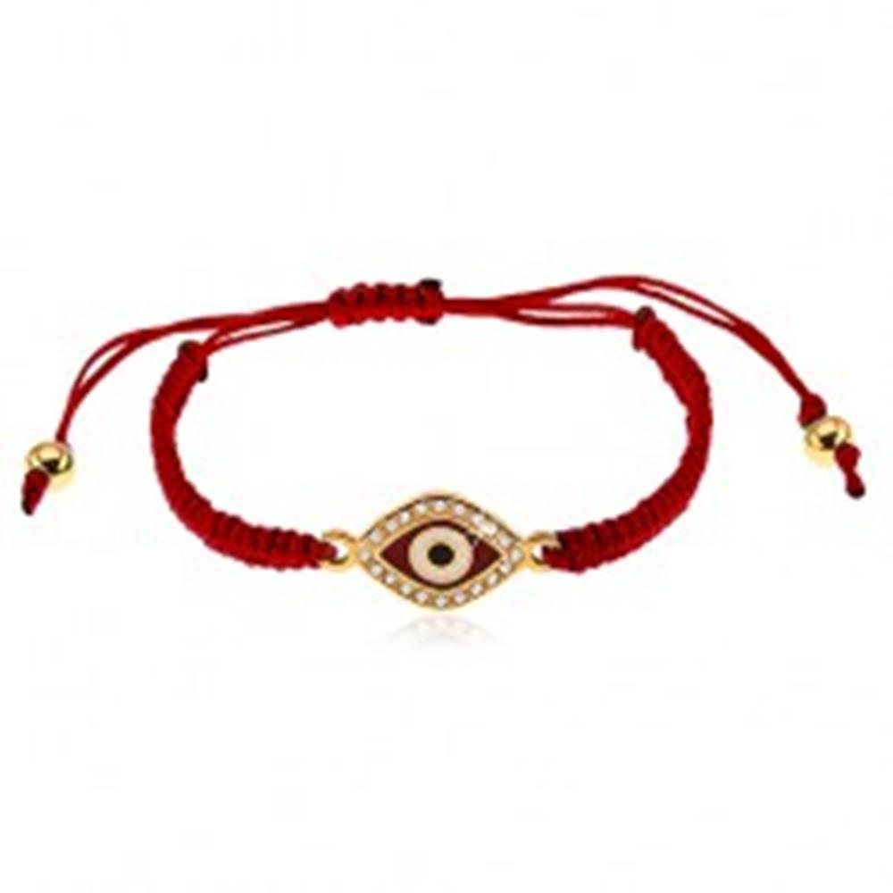 Šperky eshop Bordový šnúrkový náramok, symbol oka zdobený čírymi zirkónmi