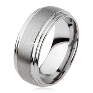 Hladký tungstenový prsteň, jemne vypuklý, matný povrch, strieborná farba - Veľkosť: 49 mm