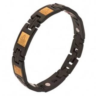 Lesklý náramok z chirurgickej ocele, čierna farba, H články, krížiky, magnety - Dĺžka: 200 mm