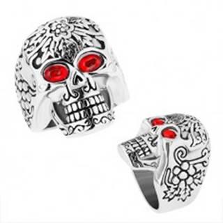 Masívny oceľový prsteň, patinovaná lebka s červenými očami - Veľkosť: 59 mm