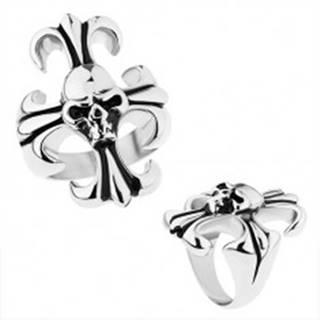Masívny prsteň z ocele 316L, strieborná farba, ľaliový kríž s lebkou - Veľkosť: 56 mm