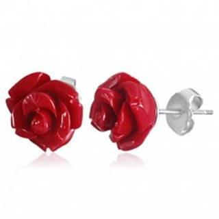 Náušnice z chirurgickej ocele, koralovo červená rozkvitnutá ružička z akrylu