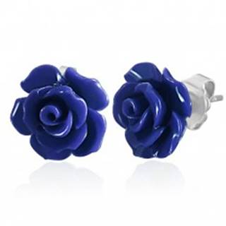 Náušnice z chirurgickej ocele, modrá ruža, puzetky