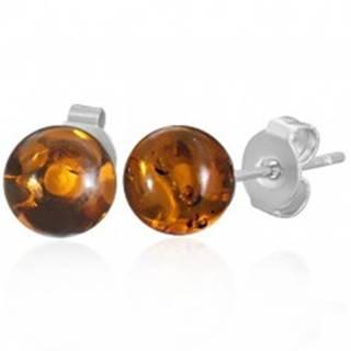 Oceľové puzetové náušnice - priehľadné oranžové guličky
