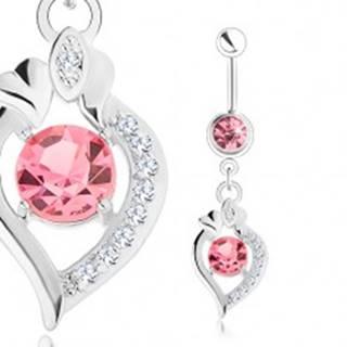 Oceľový piercing do brucha, strieborná farba, ružové zirkóny, obrys zrnka